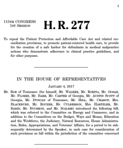 H.R. 277: American Health Care Reform Act of 2017 AKA Trumpcare