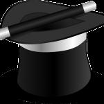 A magicians hat and symbol of flim-flam