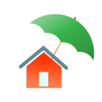 Home with umbrella denoting homeowners' insurance