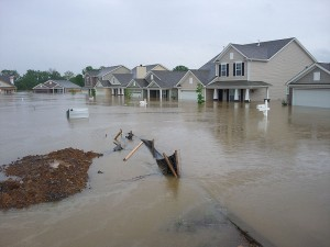 Picture showing flooded houses